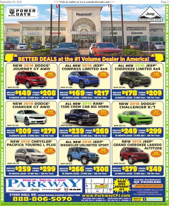 newspaper ad parkway chrysler dodge jeep ram new. Black Bedroom Furniture Sets. Home Design Ideas