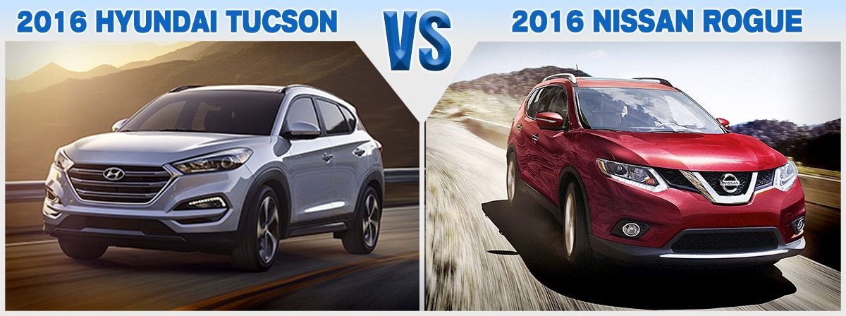 Hyundai Lease Specials >> Compare New 2016 Nissan Rogue vs. Hyundai Tucson | Price ...