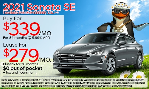 $2,000 cash back on select 2021 Hyundai Sonata