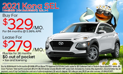 $3,500 cash back on select 2021 Hyundai Kona