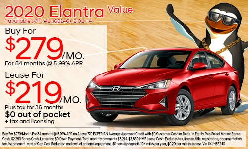 $3,000 cash back on select 2020 Hyundai Elantra