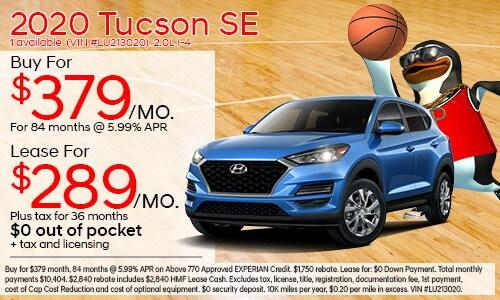 $1,750 cash back on select 2020 Hyundai Tucson SE