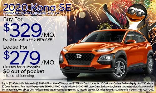 $2,500 cash back on select 2020 Hyundai Kona
