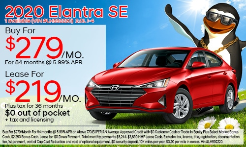$3,000 cash back on select 2020 Hyundai Elantra