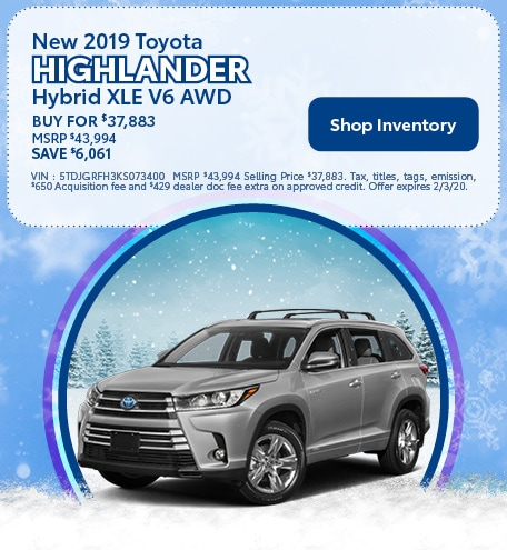 New 2019 Toyota Highlander Hybrid XLE V6 AWD