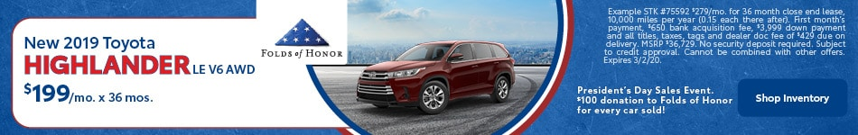 New 2019 Toyota Highlander LE V6 AWD