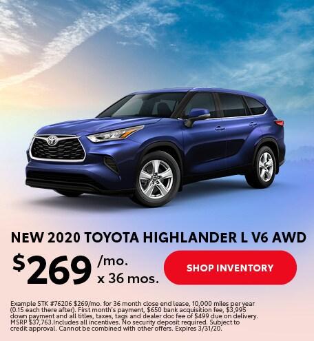 New 2020 Toyota Highlander L V6 AWD