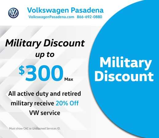 Volkswagen Pasadena service special offer for Military