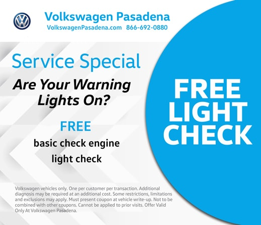 Free check engine light check at VW Pasadena