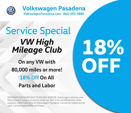 Volkswagen Pasadena service special offer for High Mileage VWs