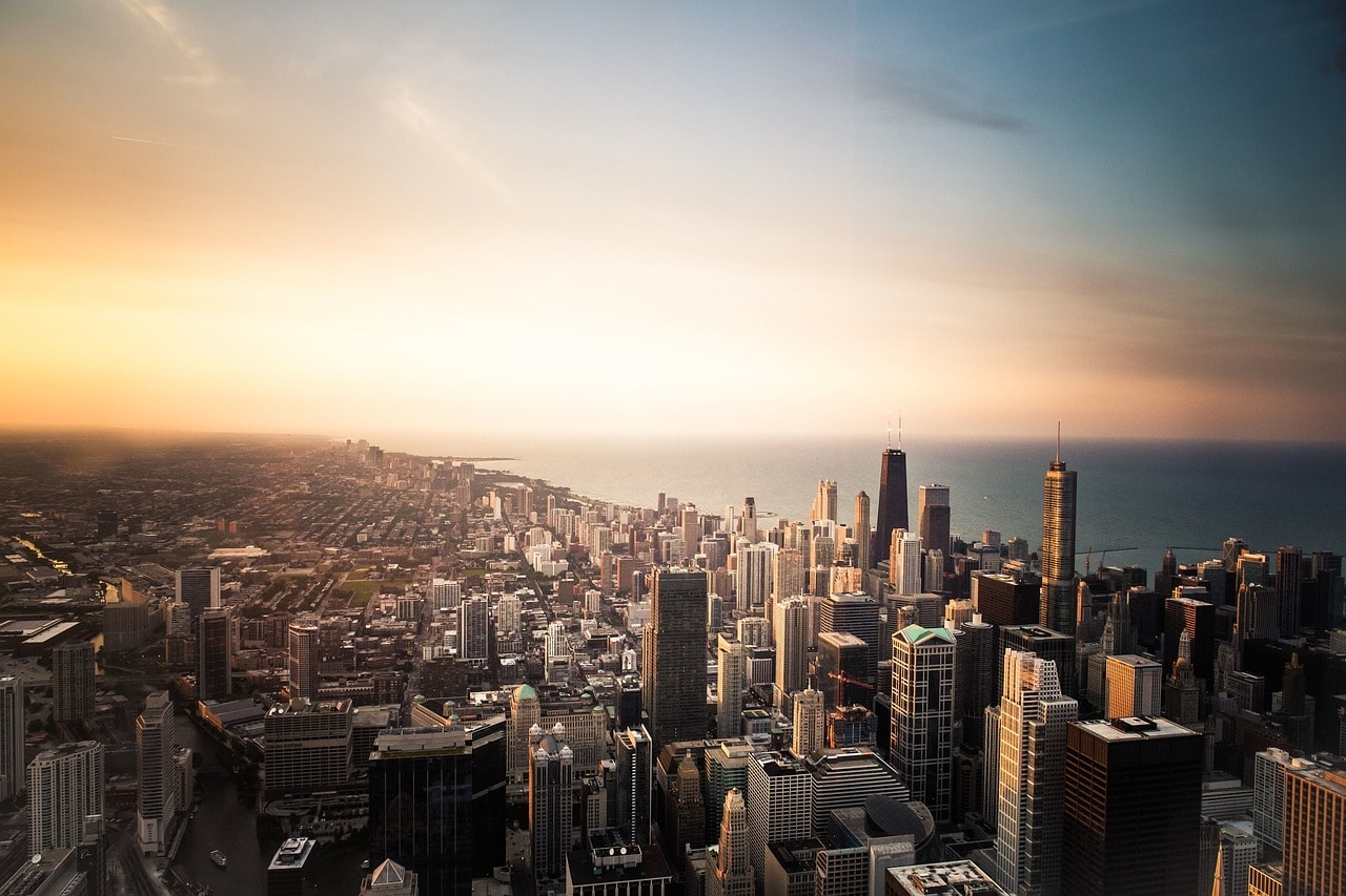 aerial shot over Chicago at sunset