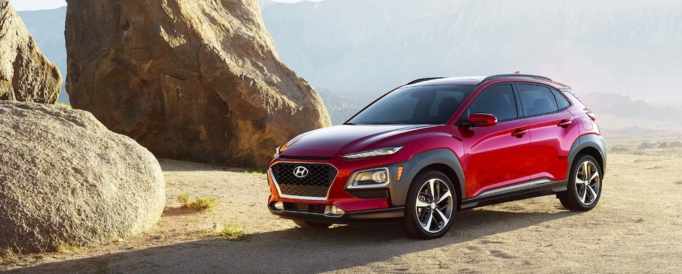Red Hyundai Crossover in a Desert