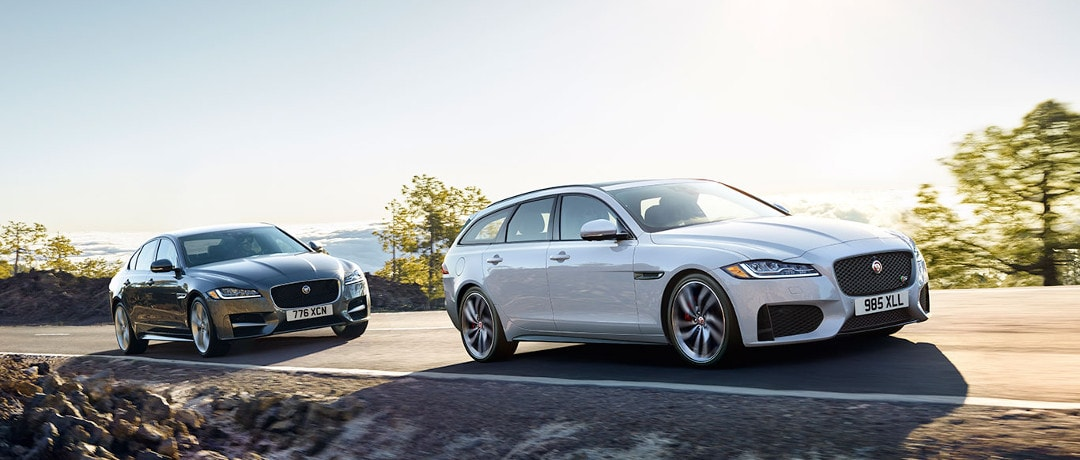 Jaguar XE Sedan and Wagon on road