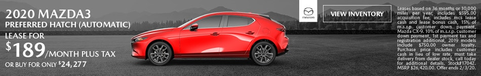 January 2020 Mazda3 Preferred Hatch (Automatic) Lease