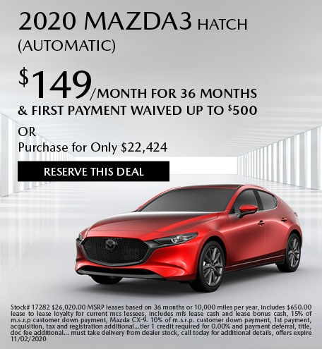 October 2020 Mazda3 Hatch (Automatic)