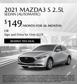 February 2021 Mazda3 S 2.5L Sedan (Automatic)