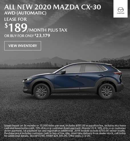 January ALL NEW 2020 Mazda CX-30 AWD (Automatic) Lease