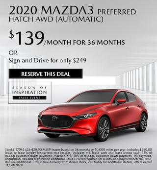 Updated November 2020 Mazda3 Preferred Hatch AWD (Automatic)