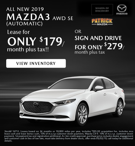 August 2019 Mazda3 Lease
