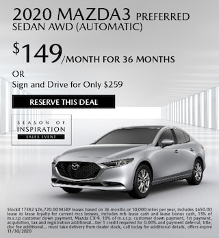 Updated November 2020 Mazda3 Preferred Sedan AWD (Automatic)