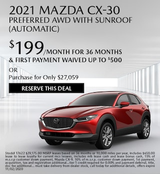 October 2021 Mazda CX-30 PREFERRED AWD with SUNROOF (Automatic)