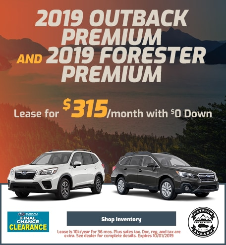2019 Outback Premium and 2019 Forester Premium