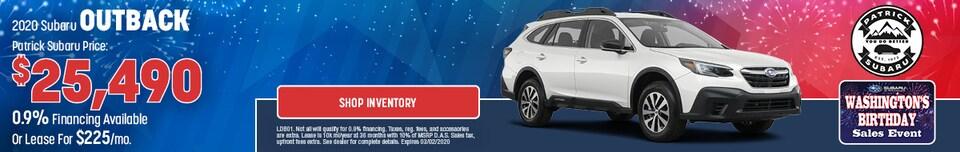 2020 Subaru Outback Feb Offer