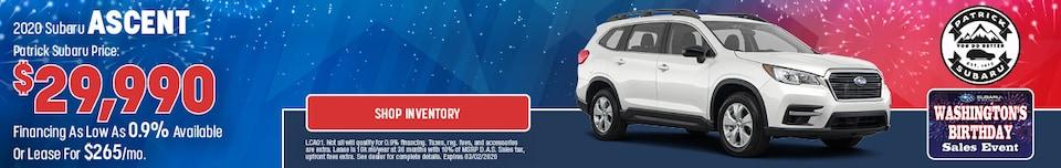 2020 Subaru Ascent Feb Offer