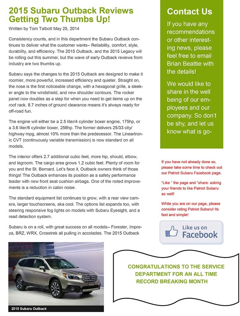 June 2014 Newsletter | Patriot Subaru of North Attleboro