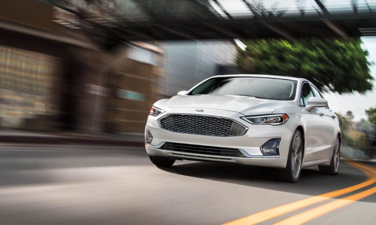 2020 Ford Fusion white exterior driving