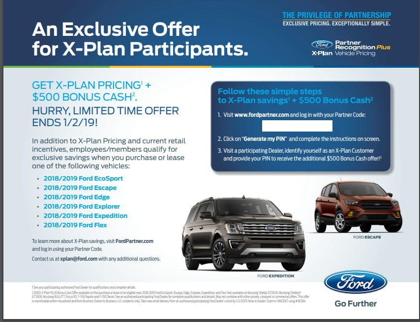 Ford X Plan Pricing >> Exclusive Offer For X Plan Participates At Our Ford Dealership