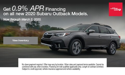 Get 0.9% APR Financing on all new 2020 Subaru Outback Models.