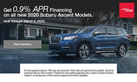 Get 0.9% APR Financing on all new 2020 Subaru Ascent Models.