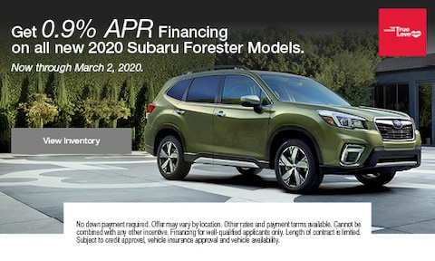 Get 0.9% APR Financing on all new 2020 Subaru Forester Models.