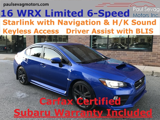 2016 Subaru WRX Limited 6-Speed Navigation/Smart Access/Blind Spot Sedan