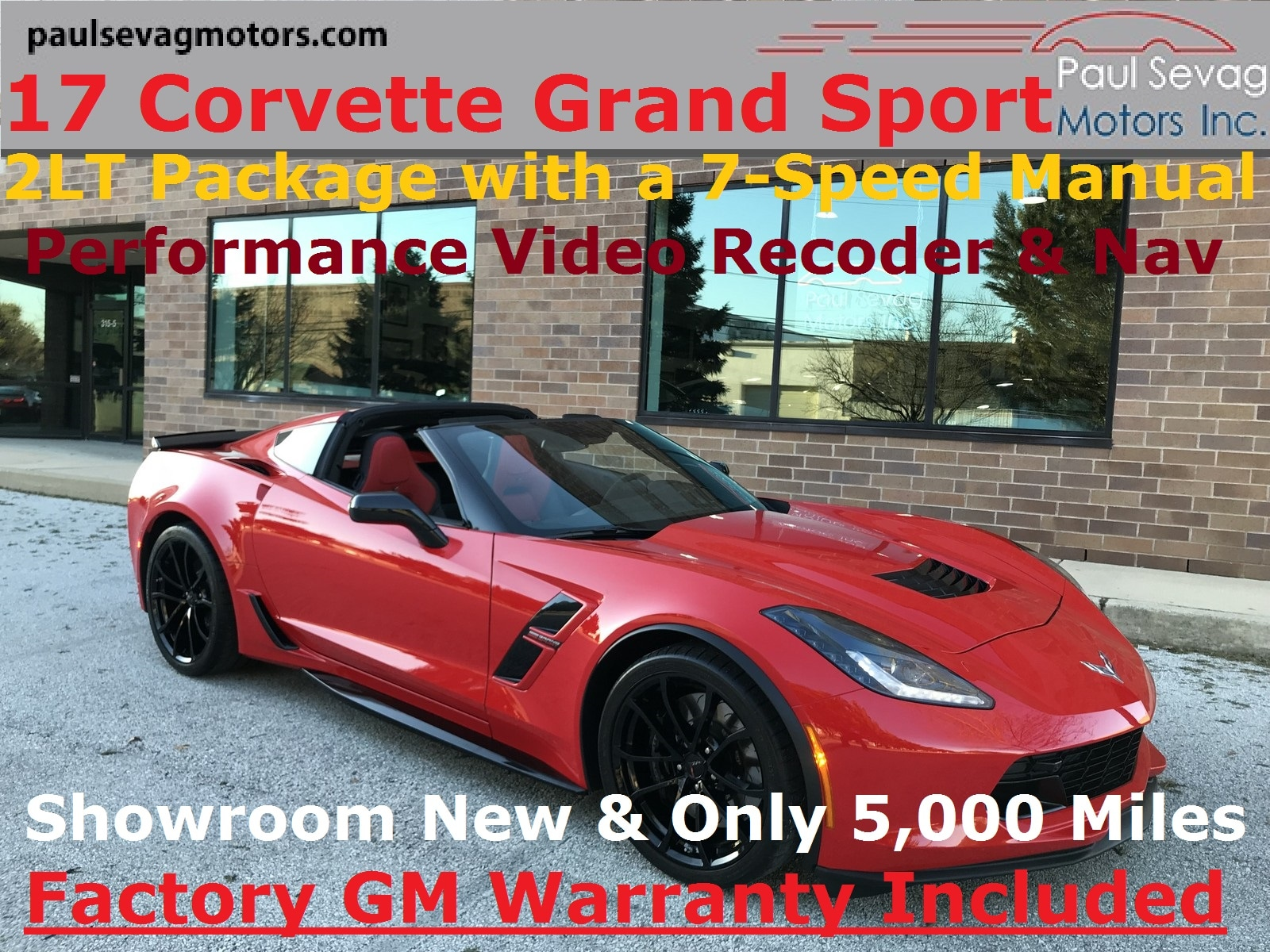 2017 Chevrolet Corvette Grand Sport Coupe 2LT 7-Speed Manual w/Performance Data/Video Record Coupe