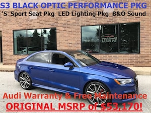 2016 Audi S3 Quattro Black Optic Pkg Technology/LED Lighting/Sport Seat Pkgs