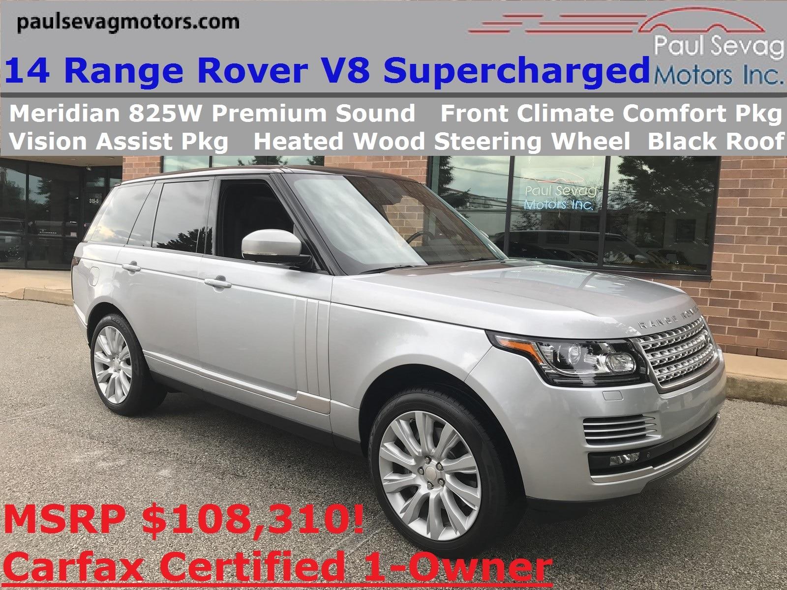 2014 Land Rover Range Rover 5.0L V8 Supercharged Vision Assist Pkg/Meridian 825W Audio/MSRP $108,31
