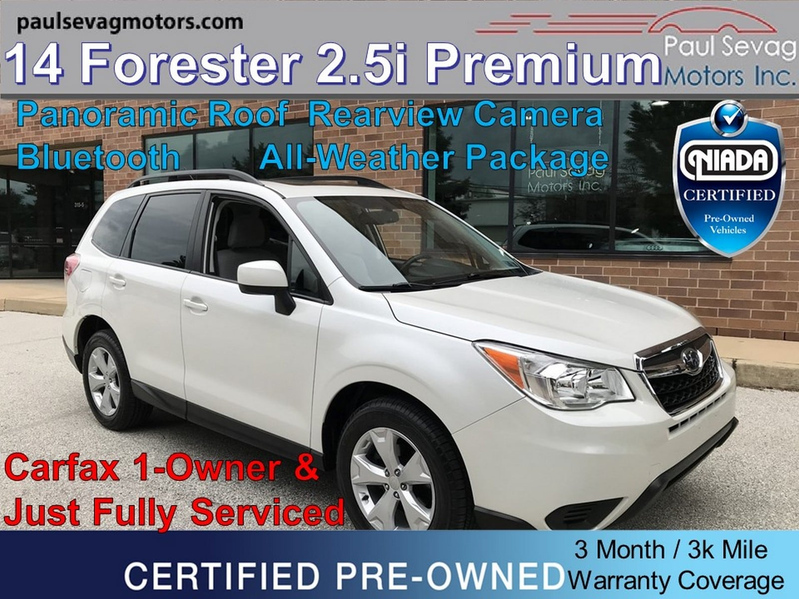2014 Subaru Forester 2.5i Premium AWD Pano Roof/Heated Seats/1-Owner/Warranty