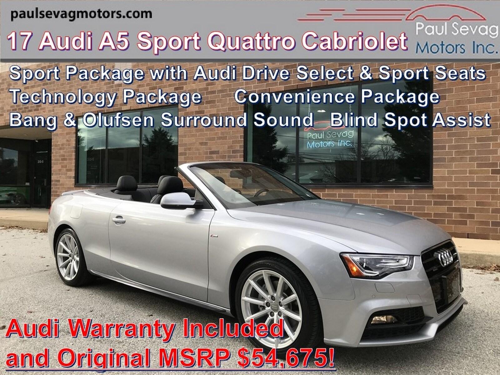 2017 Audi A5 Sport 2.0T Quattro Cabriolet Sport Pkg/Technology Pkg/Convenience Pkg
