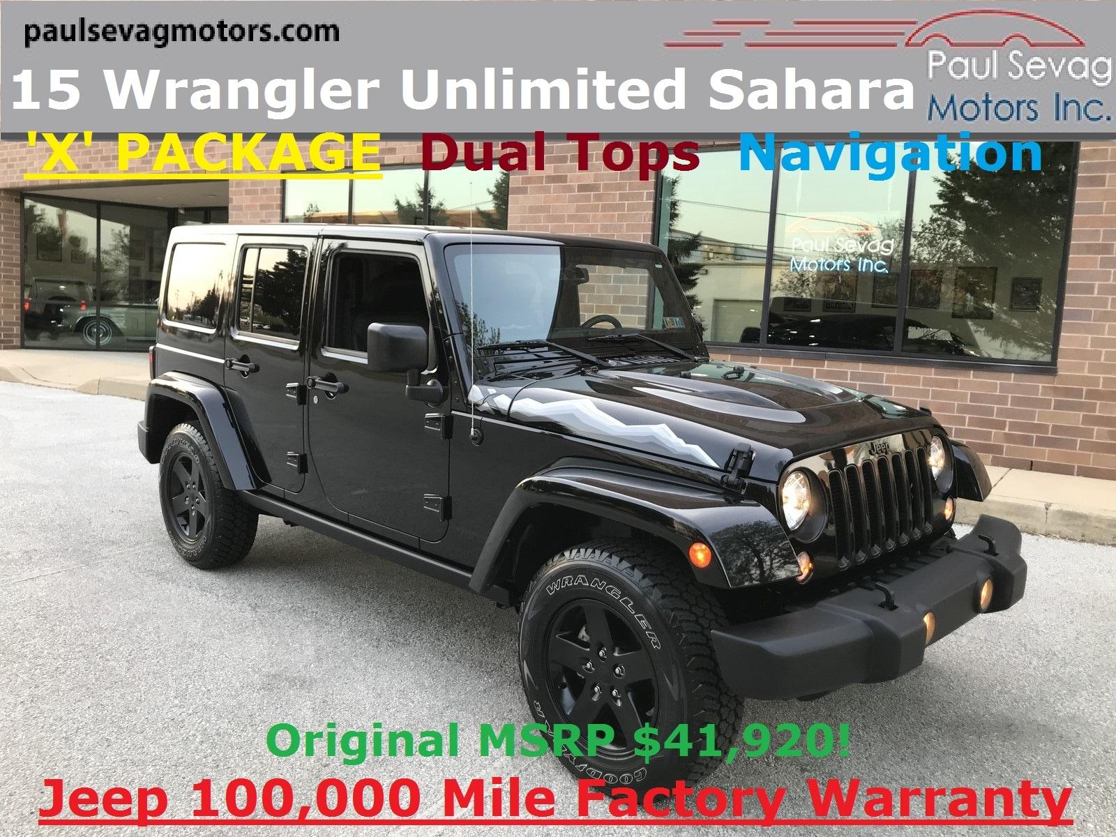 2015 Jeep Wrangler Unlimited Sahara 4x4 'X' PACKAGE/Dual Tops/Navigation SUV