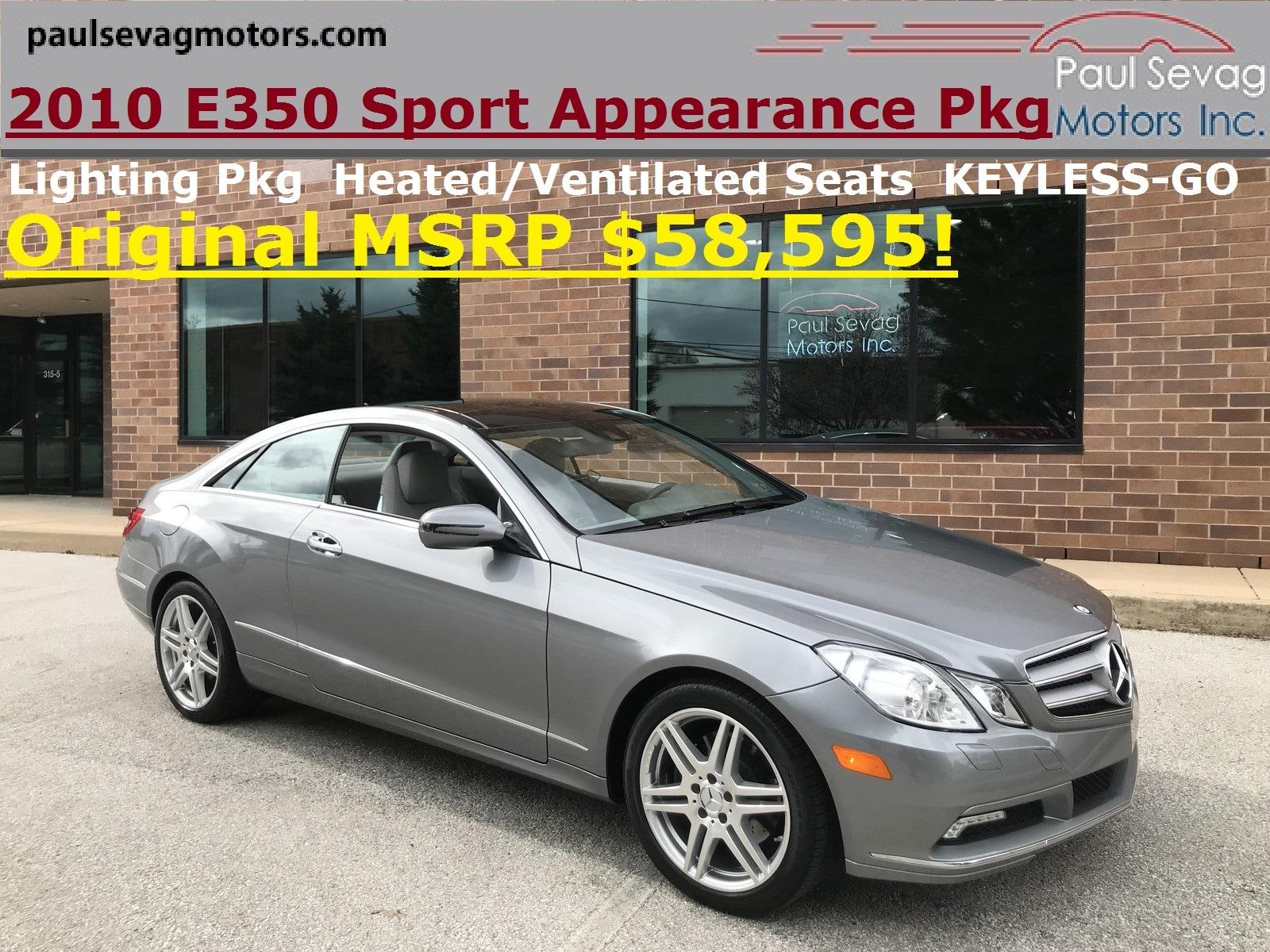 2010 Mercedes-Benz E350 Coupe Sport Appearance/ Premium 2/MSRP $58,595 Coupe