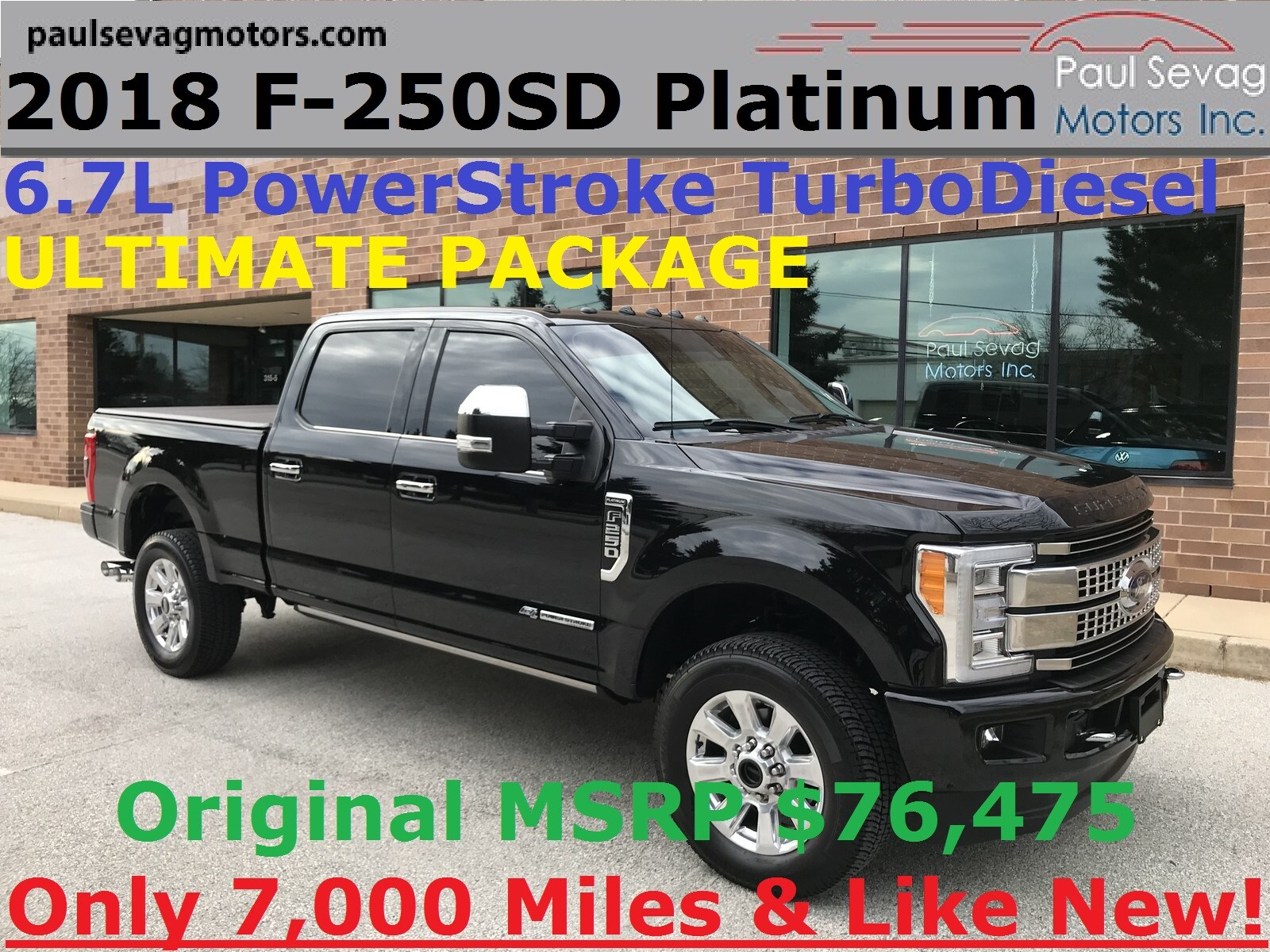 2018 Ford F-250 Super Duty Platinum Ultimate Pkg 4x4 Powerstroke Diesel Crew Cab