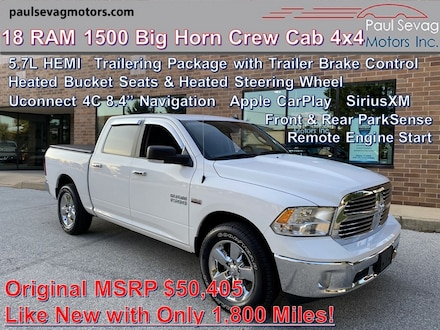 2018 Ram 1500 Big Horn Crew Cab 4x4 5.7L HEMI/Heated Bucket Seats/Trailering Pkg/Nav w