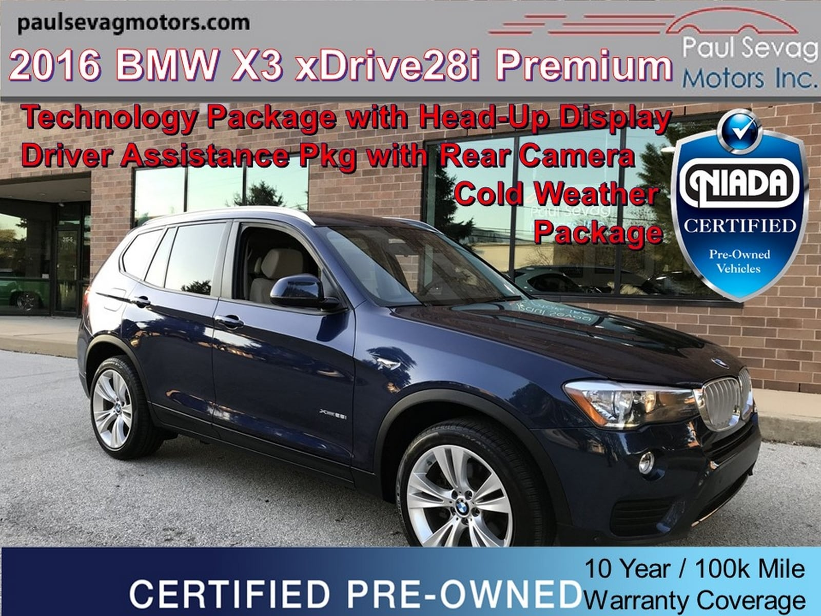 2016 BMW X3 xDrive28i Technology/Driver Assistance/Cold Weather Pkgs