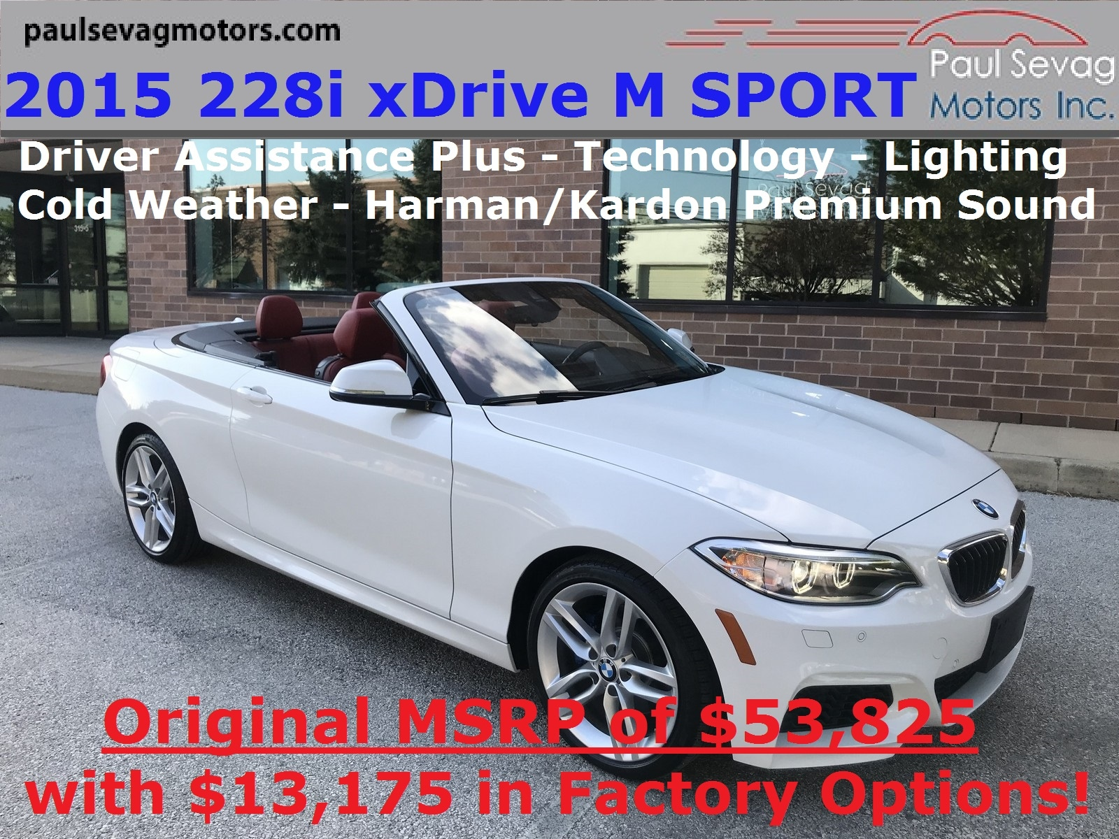 2015 BMW 228i xDrive M Sport Convertible Lighting/Technology/Driver Assistance Plus/MSRP $53,825 Convertible