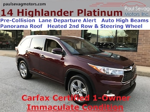 2014 Toyota Highlander Limited Platinum AWD Pano Roof/Lane Departure/Pre-Collision/Heated Stee