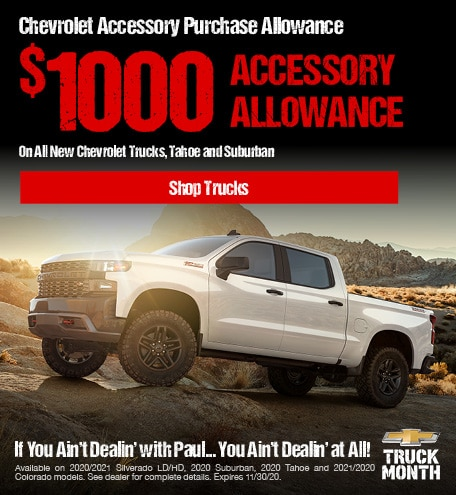 $1000 Chevrolet Accessory Purchase Allowance