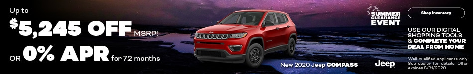 August New 2020 Jeep Compass Offers