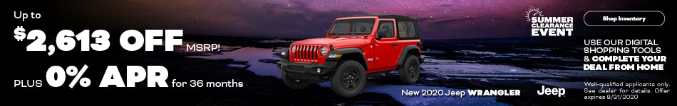 August New 2020 Jeep Wrangler Offers